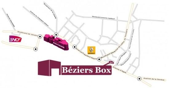 Plan d'accès simplifié à Béziers Box