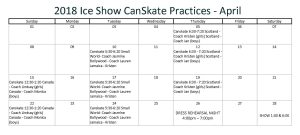 CanSkate Ice Show Practice Schedule