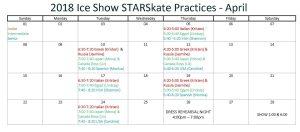 STARSkate Ice Show Practice Schedule