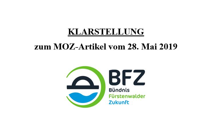 Klarstellung zum MOZ-Artikel vom 28. Mai 2019