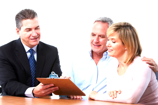 insurance broker meeting with elderly couple