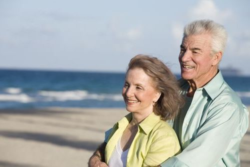 elderly people on the beach