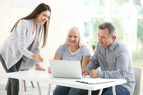 insurance agent with seniors