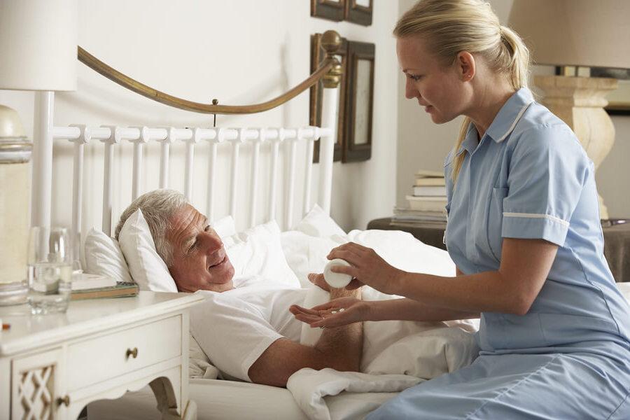 nurse with sick patient