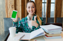 female student with phone and books.