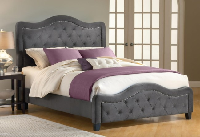 Upholstered Headboard And Footboard Gemma Pewter Brown Queen Size