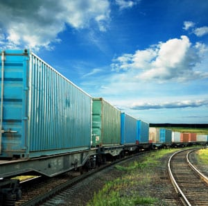 Freight train on tracks