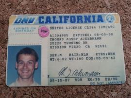 TJ California Driver ID 1987