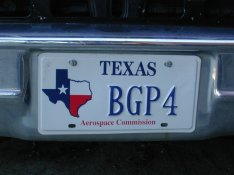 My 2001 BGP4 license plate in Texas