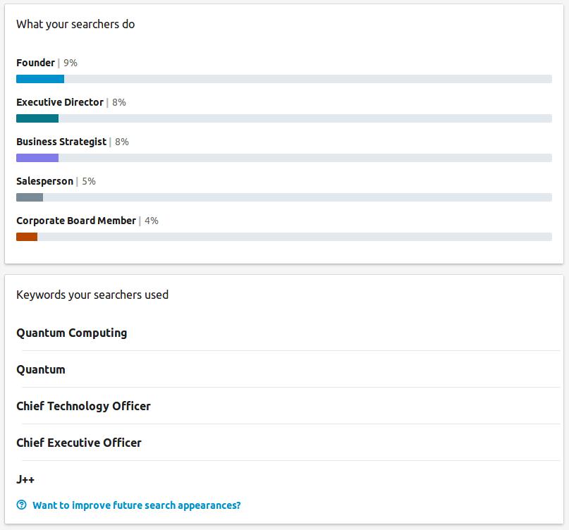 LinkedIn Searches FEB 2018