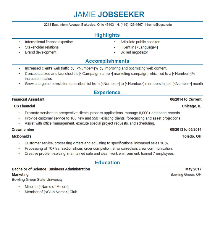 ohio university sample resume