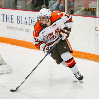 Bowling Green's Chris Pohlkamp controls the puck against Alabama-Huntsville during his team's 7-0 win Friday. (Photo by Todd Pavlack/BGSUHockey.com).