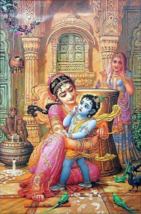 Krsna atado pelas cordas do amor e afeição de Sua mãe Yasoda