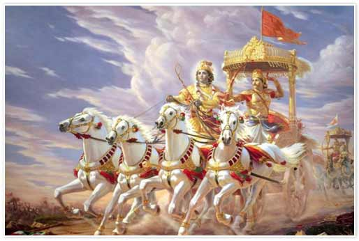 Krsna e Arjuna na batalha de Kuruksetra.