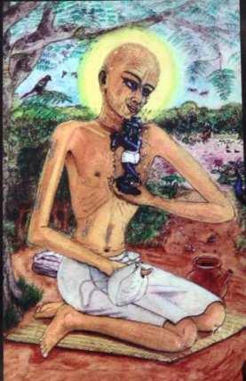 Desta forma, ele pegou a Salagrama, e a mantinha em seus braços, às vezes na cabeça, em outros momentos em seus olhos e às vezes em seu coração.