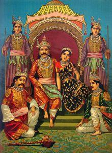 Yudhistira e Draupadi, cercados pelos outros Pandavas.