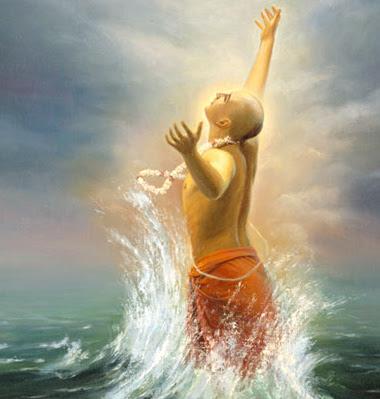 Em Navadvipa-dhama, Mahaprabhu é igualmente de três tipos. Ele veio no o humor de Radhika. Sempre pensando que é Radhika, esquecendo que é Krsna. Ele então foi para Puri e manifestou os humores de separação de Radhika. Às vezes, Ele era trancado dentro do quarto chamado Gambhira, cantando harinama. Ao ouvir o som da flauta de Krsna, de alguma forma, atravessava os sete portões de ferro trancados e corria para o oceano como se fosse um peixe, e flutuava em suas ondas por toda a noite, sendo levado as vezes para muito longe