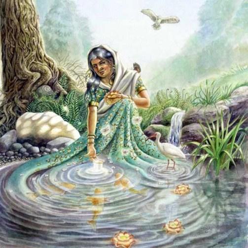 """Saci devi estava absorta em Krsna, pensando: """"Krsna é tão misericordioso. Ganges veio até mim, banhou-me em suas águas, e sua corrente me levou para os pés de lótus de Jagannatha!"""""""