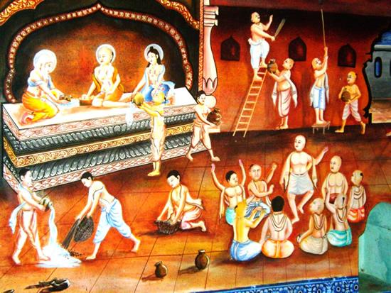 Podia-se ver Mahaprabhu limpando e jogando água aqui e acolá, em cima e embaixo, até que tudo ficou tão limpo quanto o Seu coração! Este é o passatempo conhecido como Gundica Mandira Marjana!
