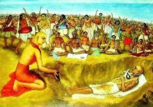 Durante o kirtana e parikrama dos devotos, Caitanya Mahaprabhu banhou o divino corpo de Haridasa no mar com suas próprias mãos, e declarou que aquele ponto se tornaria um grande local de peregrinação. Ele e Seus devotos ungiram o corpo de Haridasa com sândalo do Senhor Jagannatha. Ele colocou Haridasa em Samadhi pessoalmente cobriu o corpo com areia, após o qual todos os devotos também fizeram.