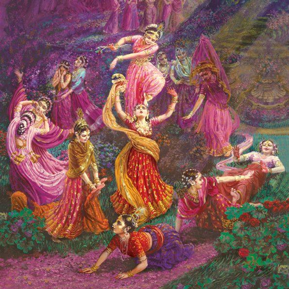 """Krsna é a única pessoa qualificada para eliminar essa """"escravidão de separação"""" das Vraja-Devis. Assim, bhava-khandana significa que Krsna pode remover a profunda angústia de separação das gopis."""