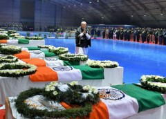 Prime Minister Narendra Modi paying homage to the martyred CRPF Jawans