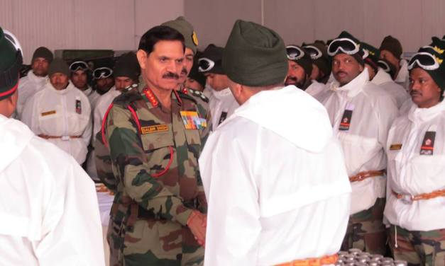 General Dalbir Singh , COAS visited the Base Camp Siachen and overflew the forward posts including the Avalanche sites . #‎Siachen‬ ‪#‎COAS‬