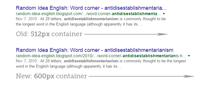 New width of Google Title Tags