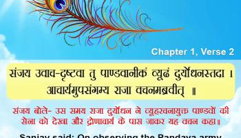 संजय उवाच – दृष्टवा तु पाण्डवानीकं व्यूढं दुर्योधनस्तदा ।आचार्यमुपसंगम्य राजा वचनमब्रवीत् ॥