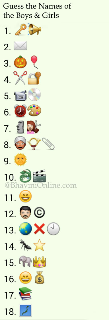 Whatsapp Puzzles: Guess the Names of Boys and Girls