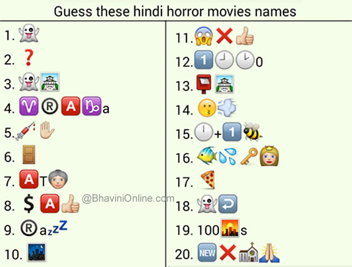 Whatsapp Puzzles: Guess the Hindi Horror Movie Names From