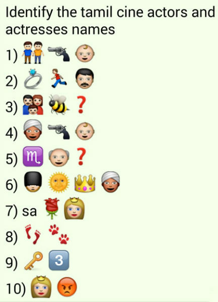 Whatsapp Puzzles: Guess Tamil Movie Actor and Actress Names From