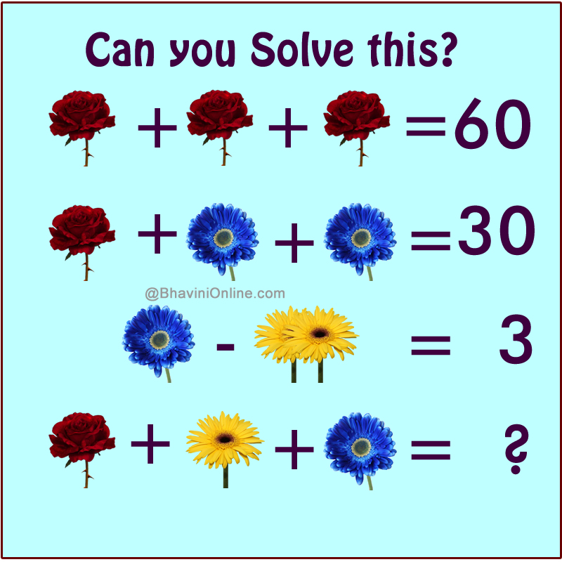 Fun Math Riddle Find the Sum of Flowers
