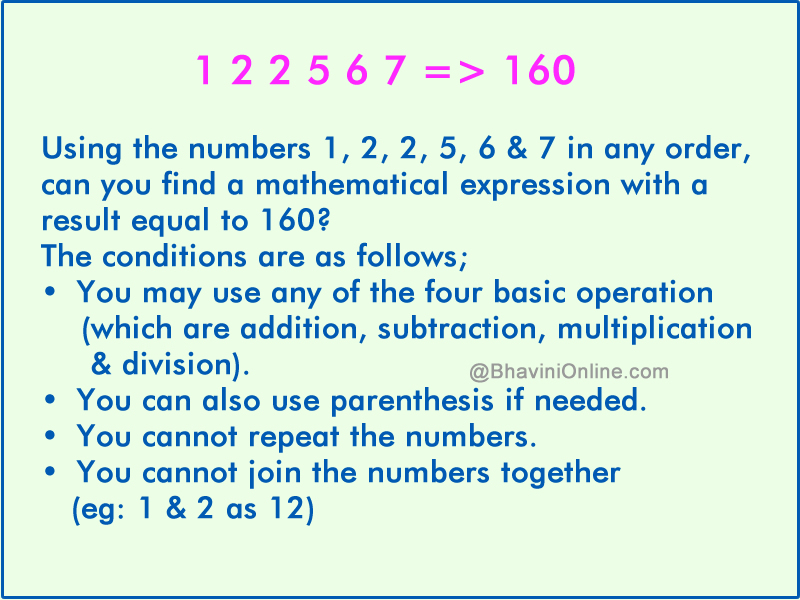 Fun With Numbers: Using The Numbers 1, 2, 2, 5, 6 & 7 Get A Result ...