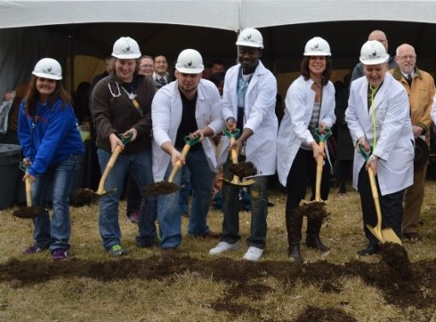BHC nursing and physical therapist assistant students joined college president Dr. Thomas Baynum in breaking ground for the new Health Sciences Center.