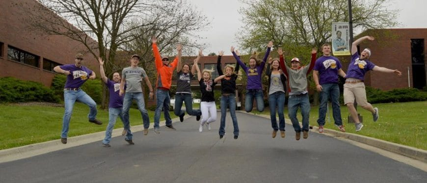 East Campus Students Jumping for joy