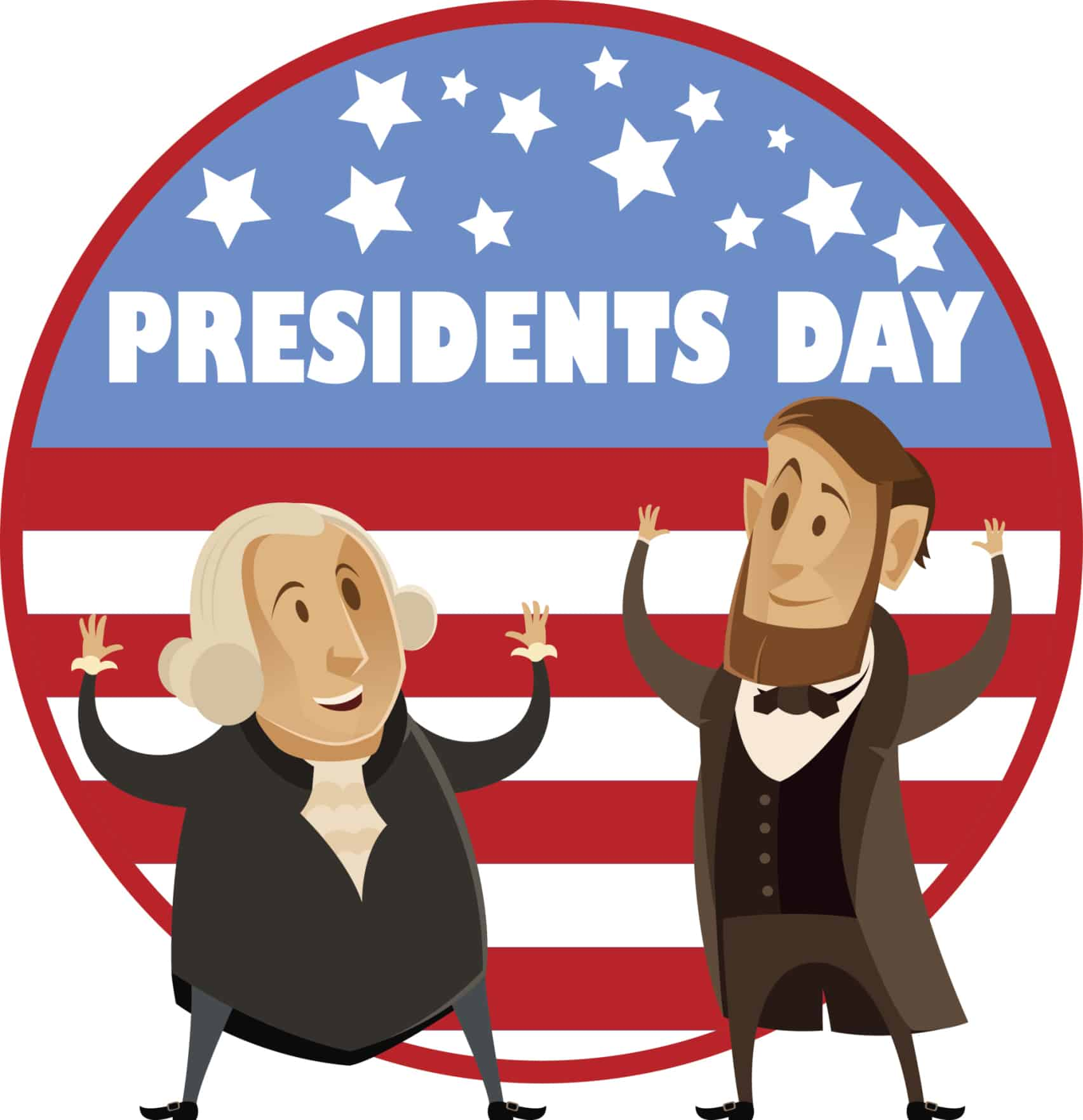 cartoon Washington & Lincoln celebrating Presidents Day