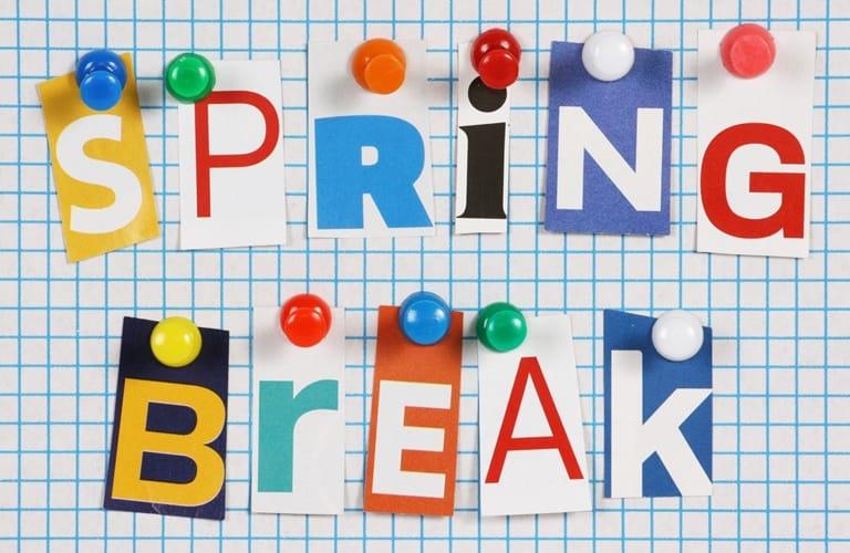 Spring Break sign on bulletin board