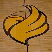 Black Hawk College logo on the gym floor
