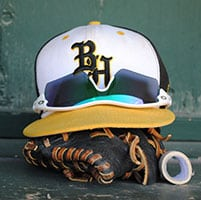 Black Hawk College baseball glove hat and sunglasses