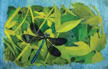 painting of dragon fly and leaves - oil on handmade paper