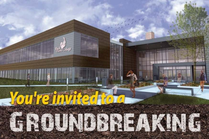 Artist rendering of building exterior & text saying you're invited to a groundbreaking