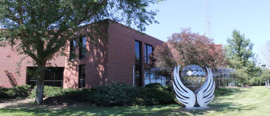 East Campus building and sculpture