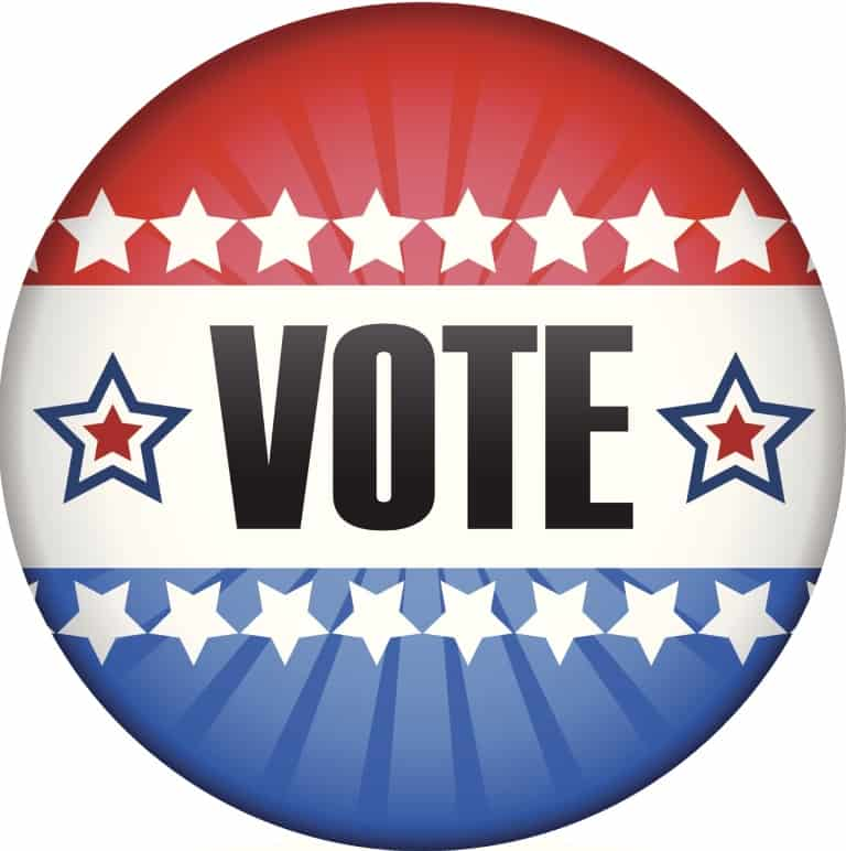 vote button with white stars and red white & blue stripes