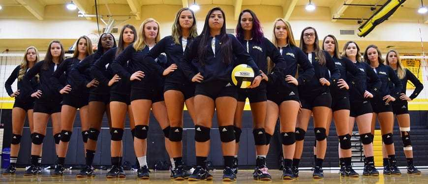 Womens volleyball team stands in row looking fierce
