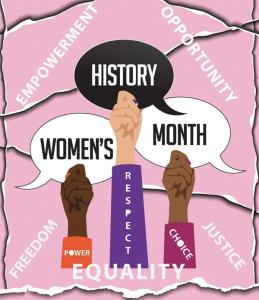 3 female hands holding Women's History Month text bubbles