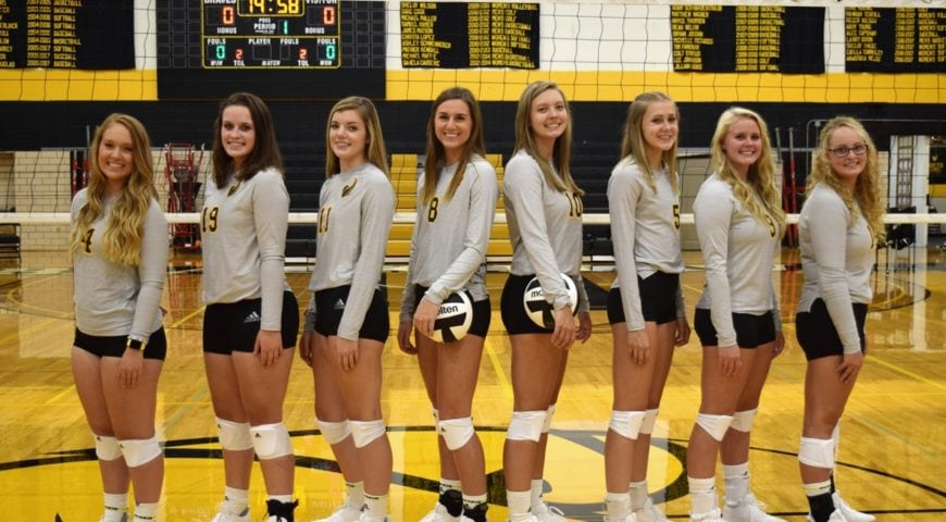 2019 Black Hawk College Braves women's volleyball team photo in front of the net