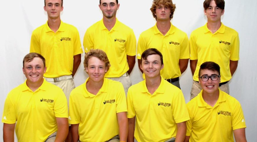 Golf team in yellow polo shirts