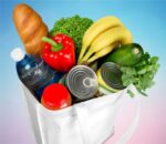 groceries in reusable shopping bag