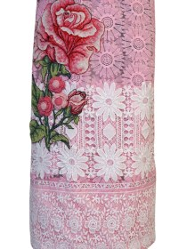 Pink Floral Thai Material with Rose Work